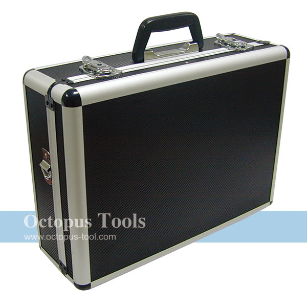 Aluminum Storage Case 455x330x152mm, w/ Removable Panels, Black