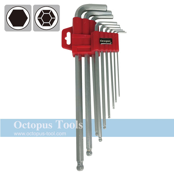 Long Arm Ball-End Hex Key Wrench 1.5mm-10mm 9pcs/set